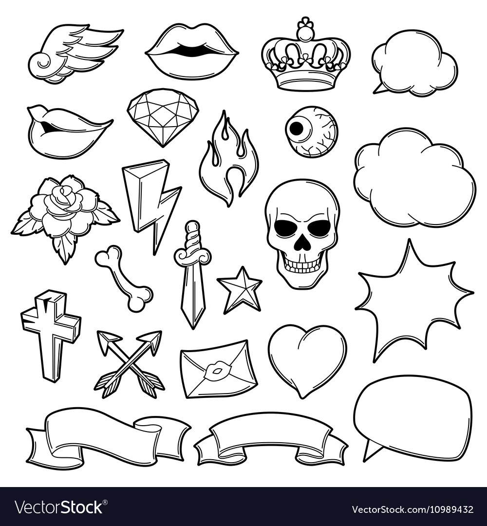 Set retro tattoo symbols cartoon old school vector