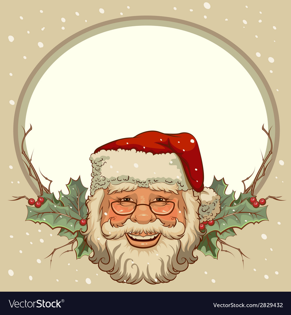 The Head Of Santa Claus Template Cards For Vector Image