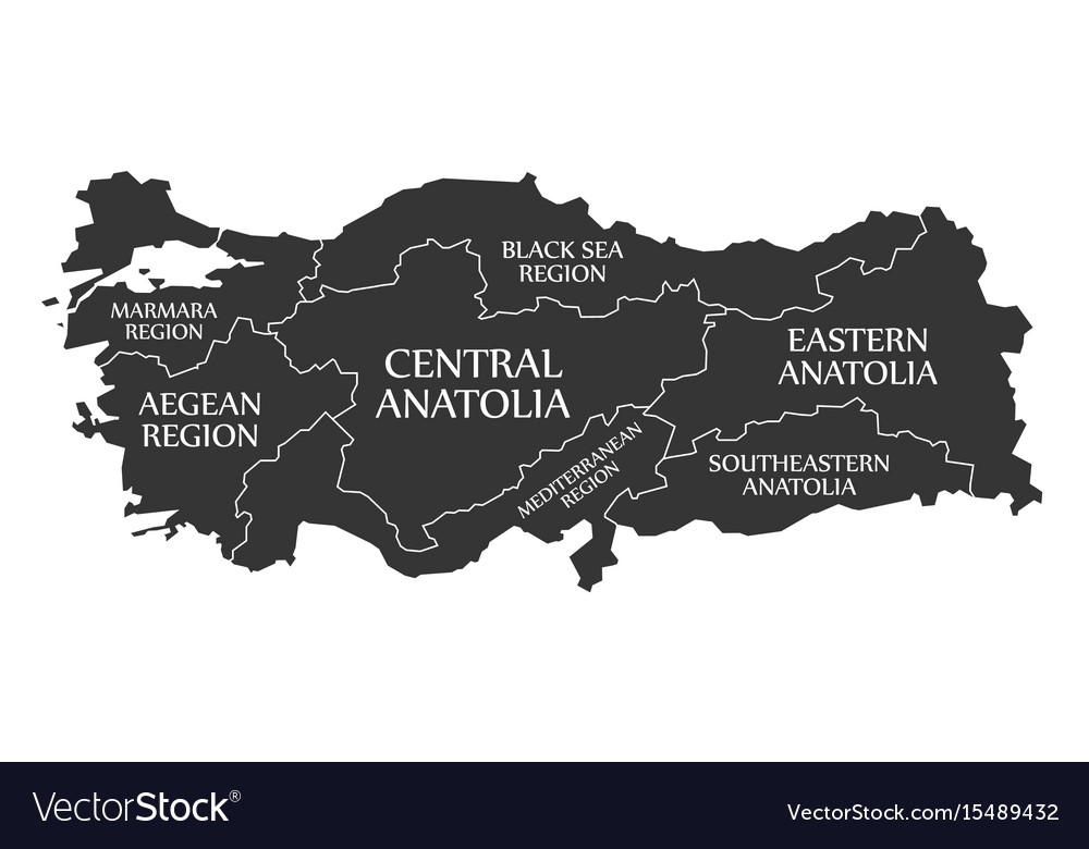 Turkey map labelled black in english language Vector Image