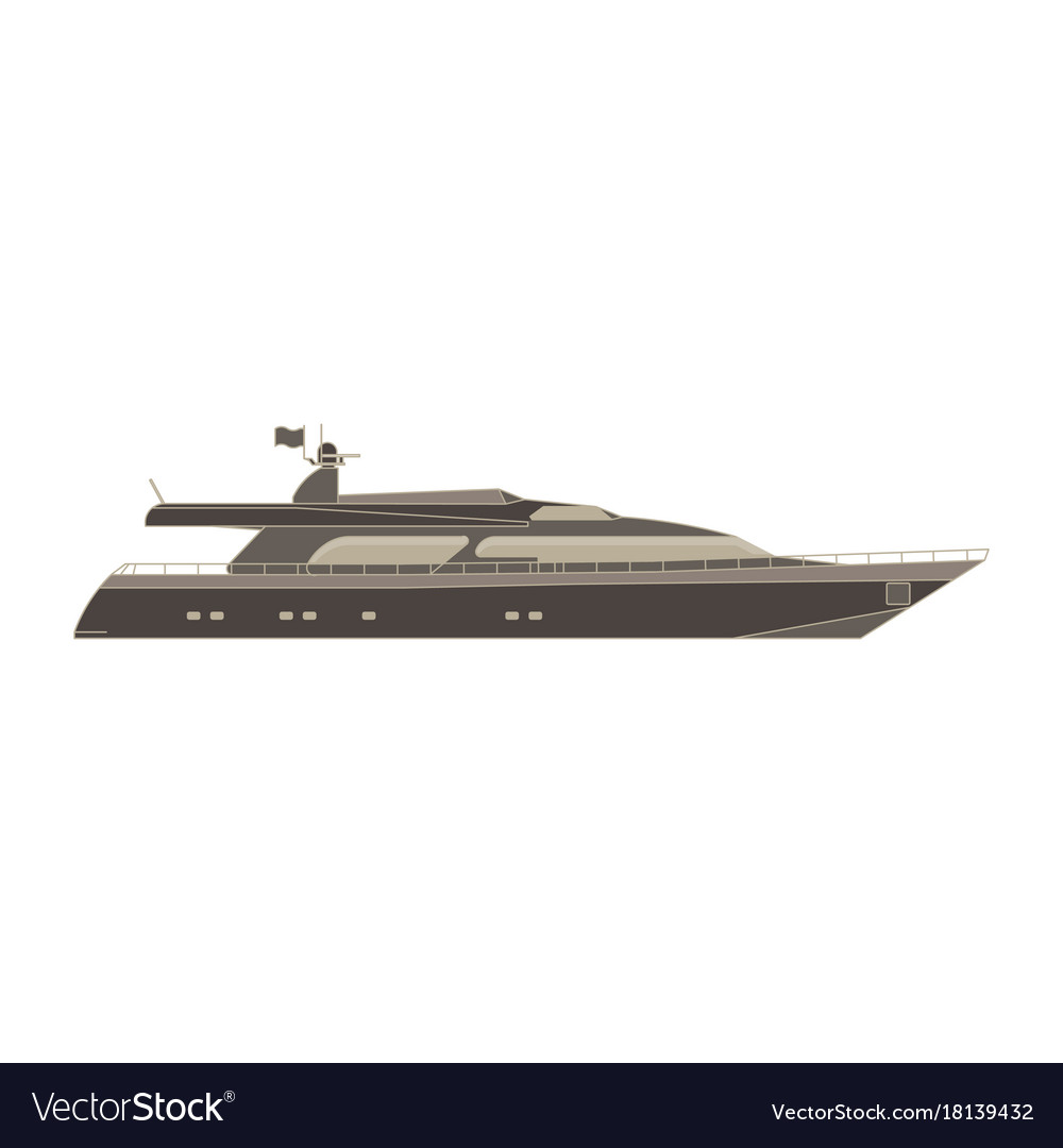 Yacht flat icon isolated boat side view cruise vector image