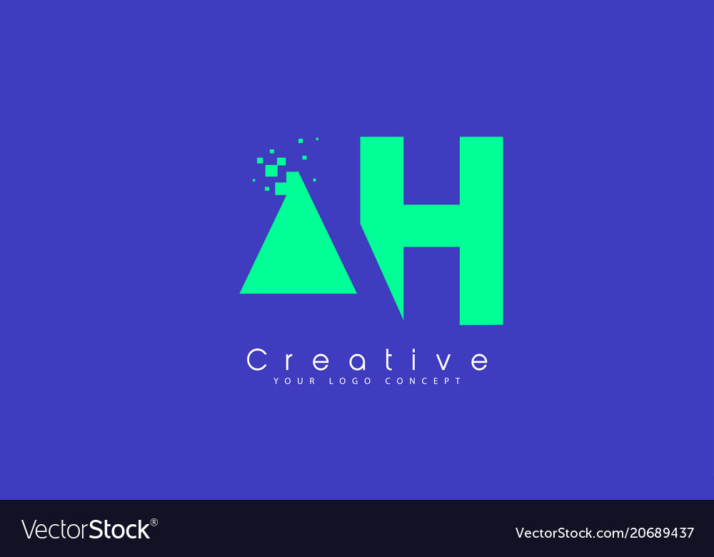 Ah letter logo design with negative space concept
