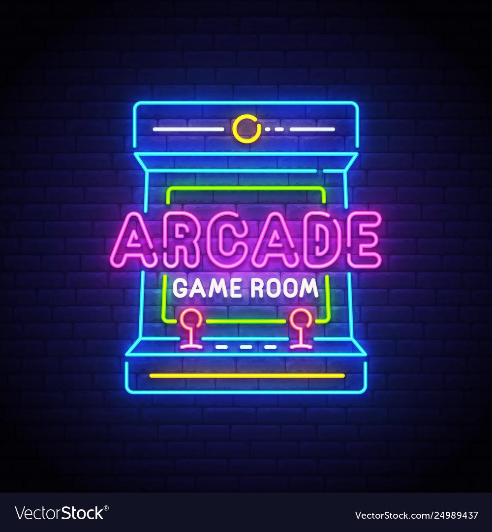 Arcade games neon sign game logo neon