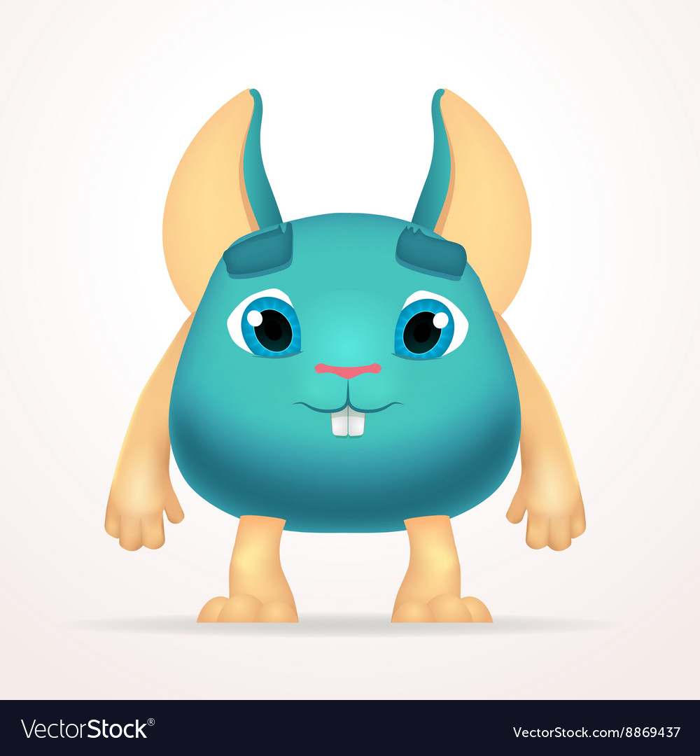 Big goofy mouse mutant character Fun fat monster vector image