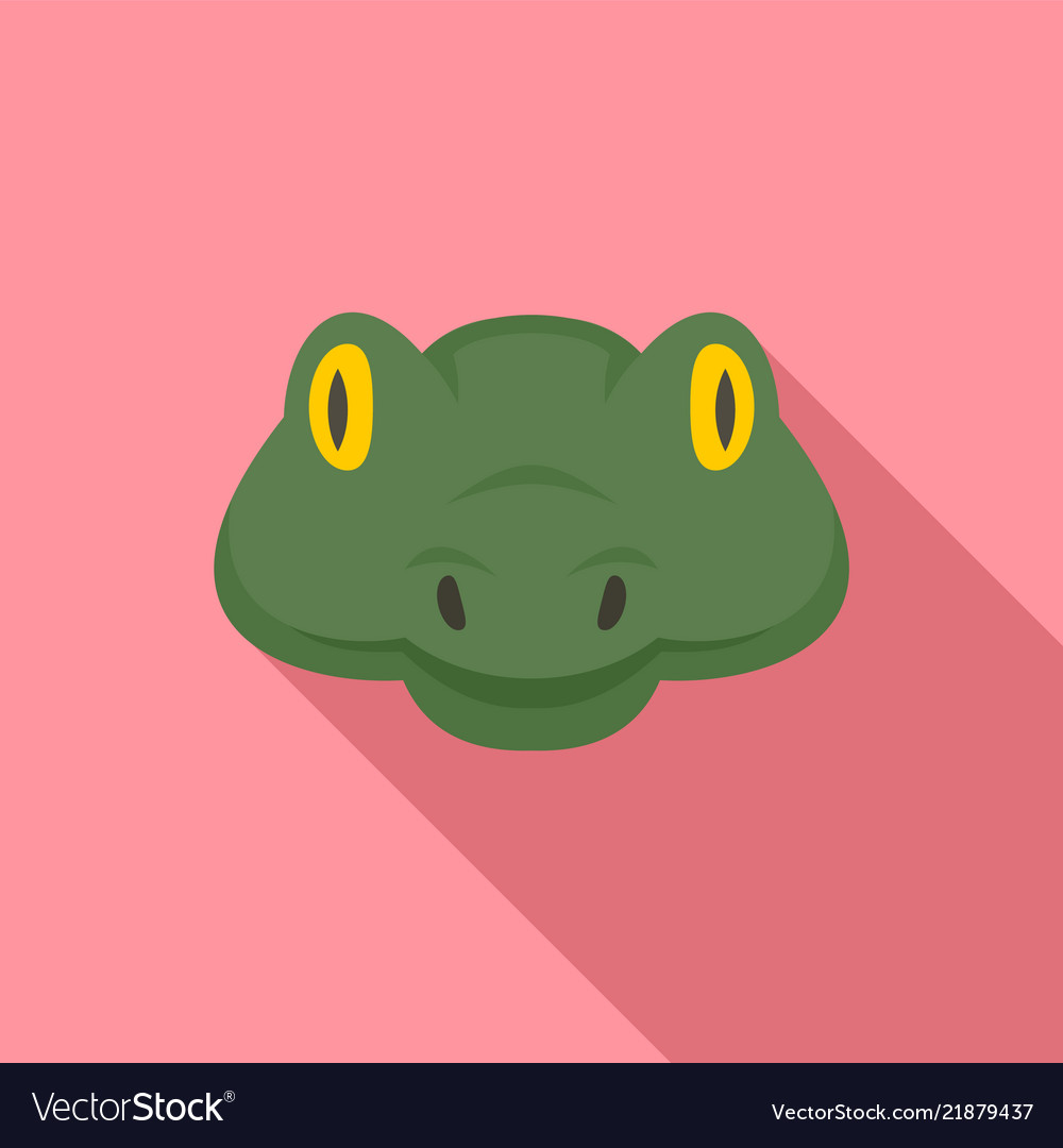 Green head snake icon flat style