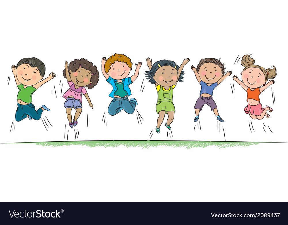 Happy children jumping vector image