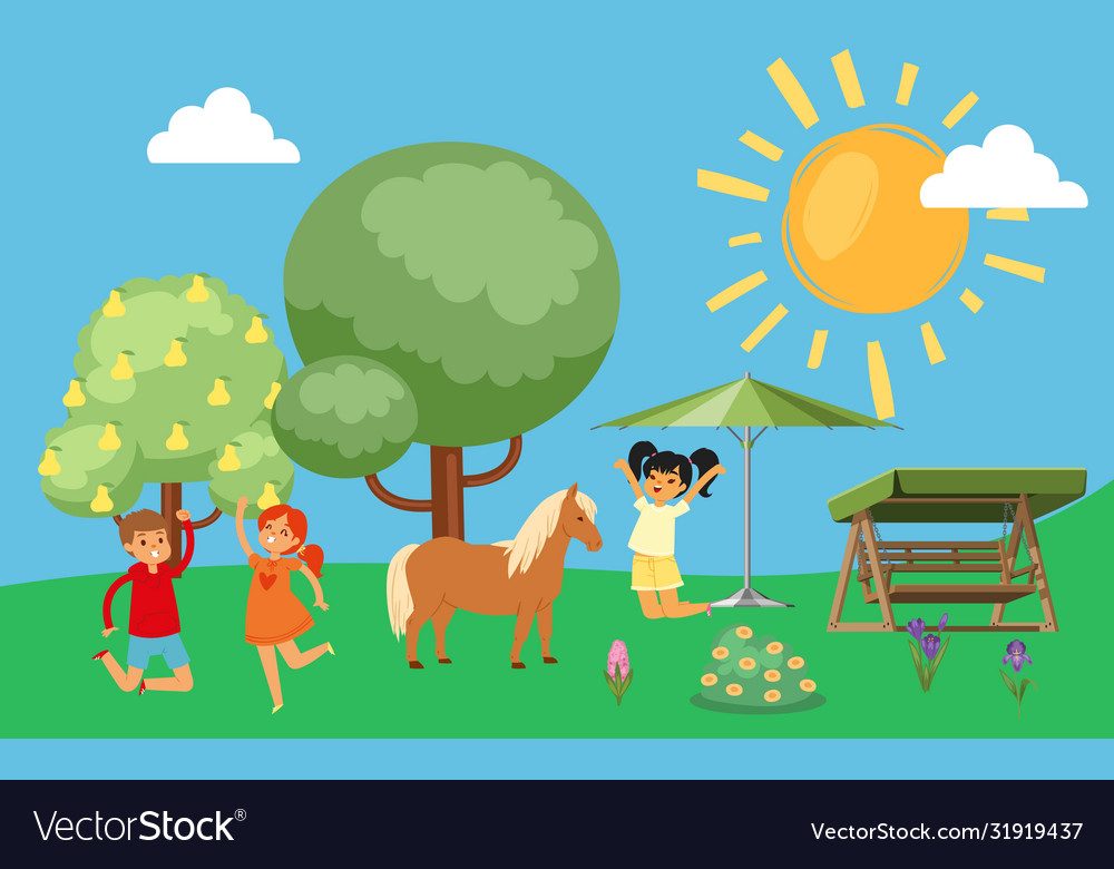 Happy kids jumping and rejoicing horses cute