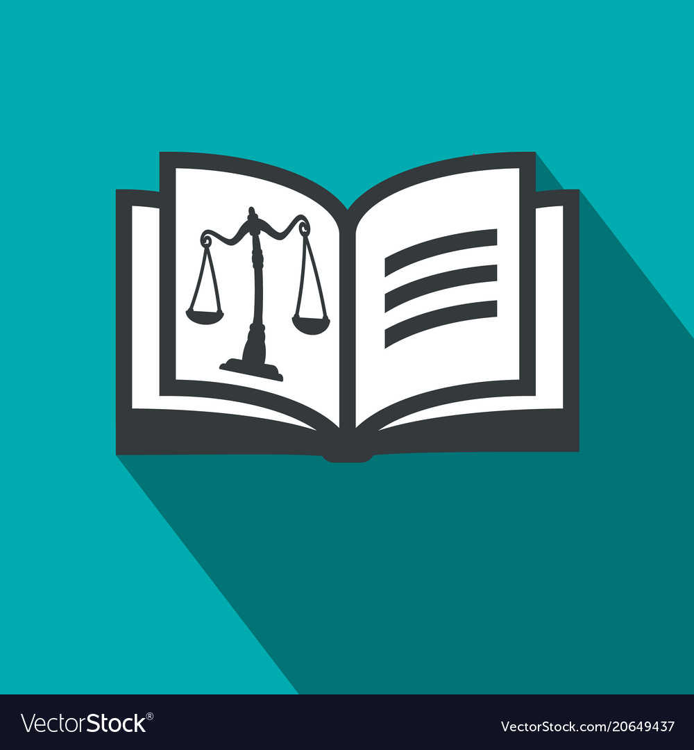 Law open book symbol with justice scales - flat