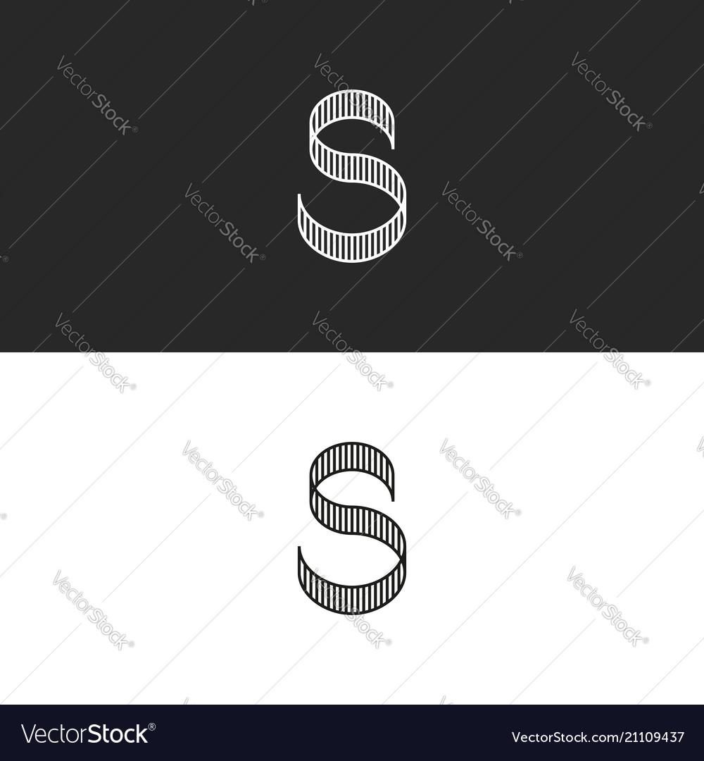 Letter s logo monogram striped shape identity