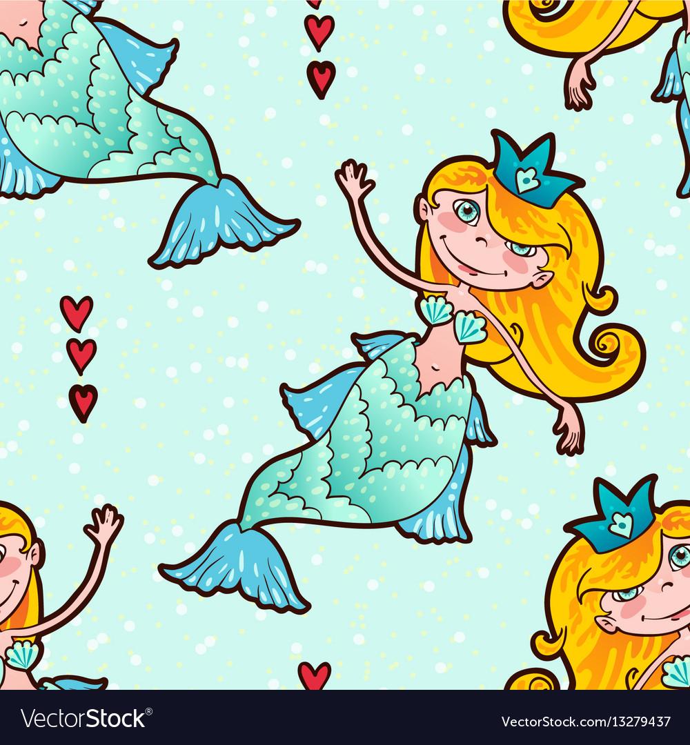 Mermaid seamless pattern kawaii maritime princess vector image