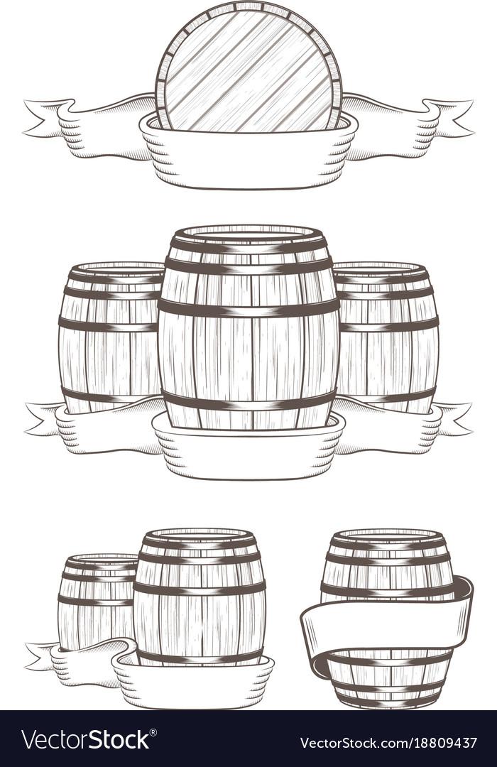 Set barrels with labels