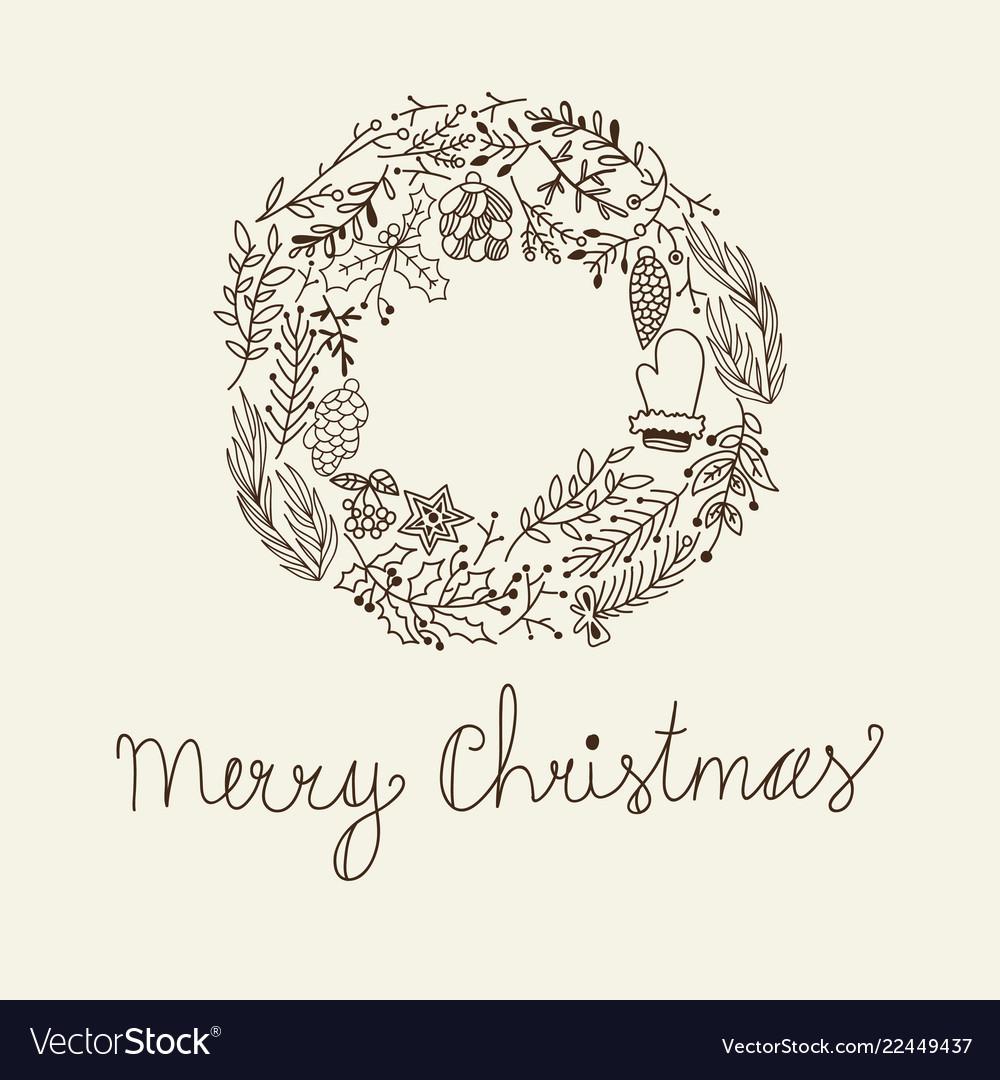 Sketch christmas floral wreath