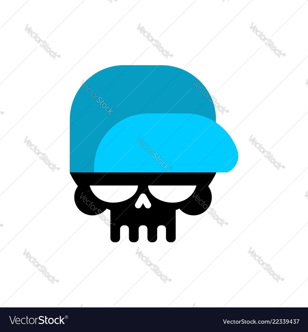Skull in baseball cap isolated head of skeleton