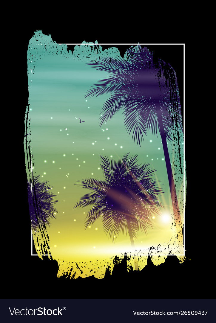 Summer night beach poster tropical natural
