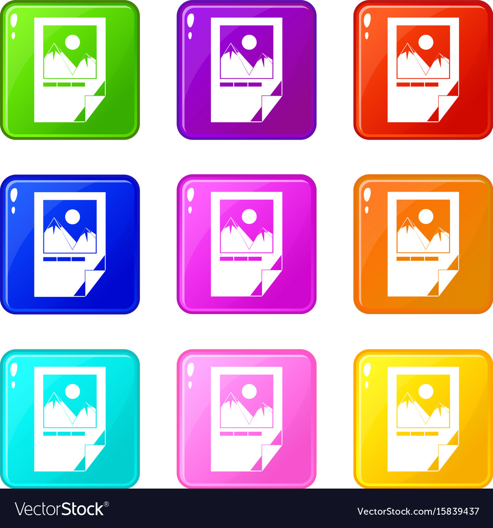 Tested ink paper with printer marks icons 9 set vector image