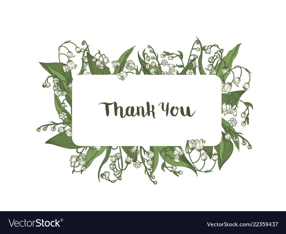 thank you word handwritten wit elegant cursive vector image