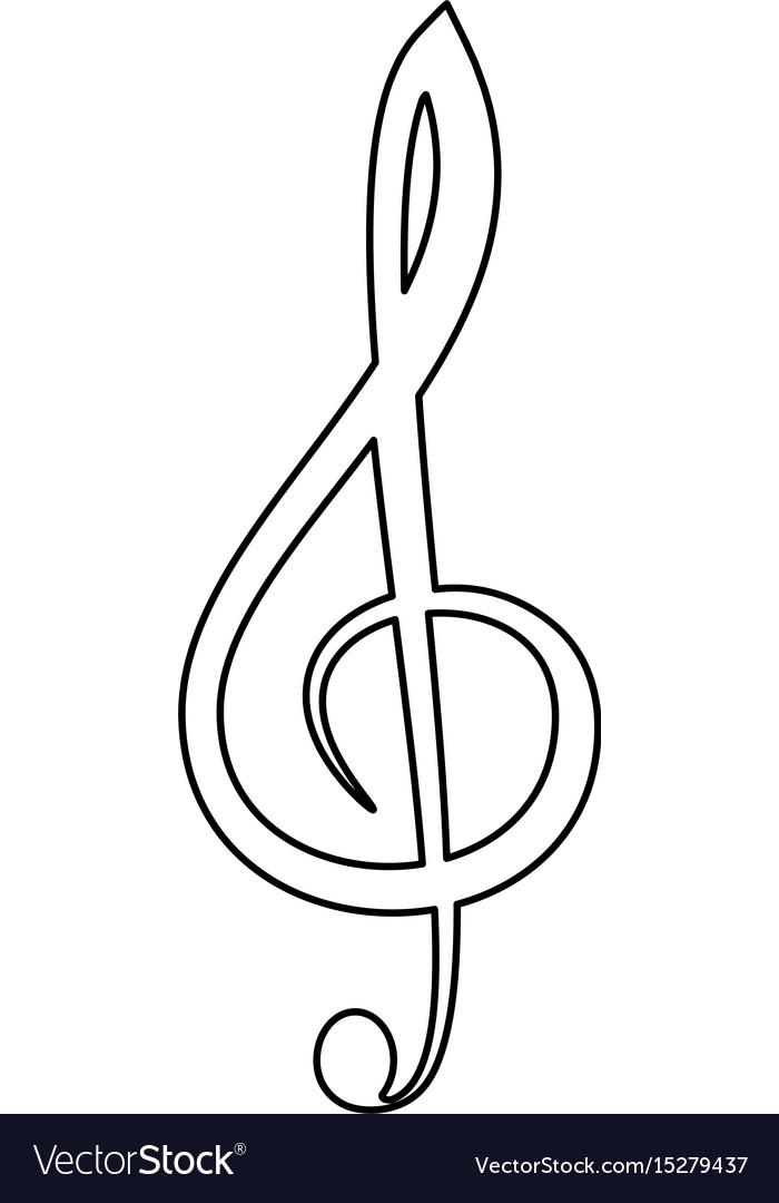 Treble clef the black color icon
