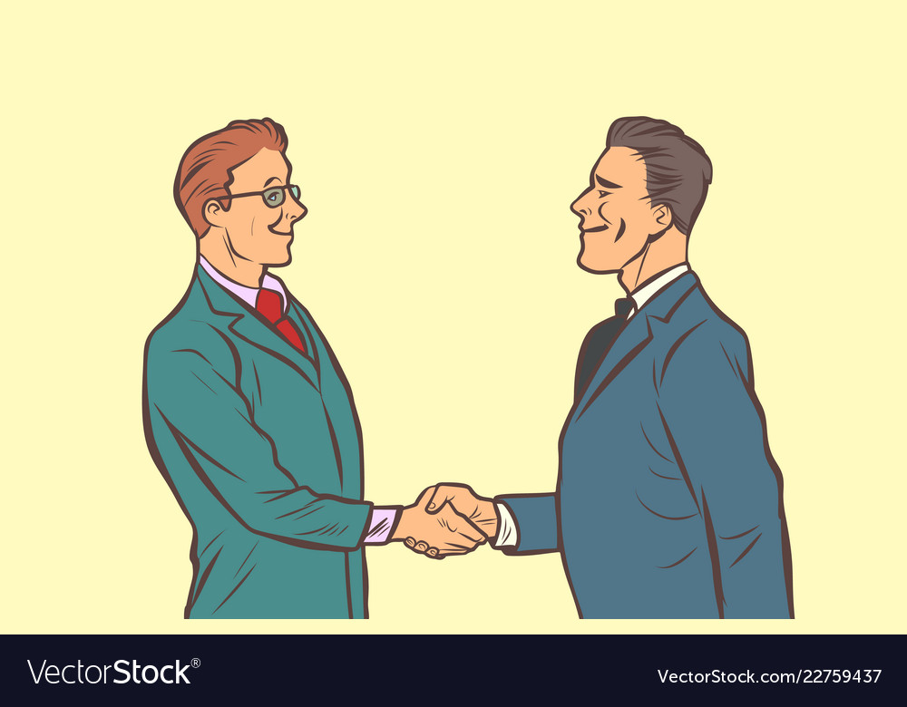Two businessmen shaking hands handshake