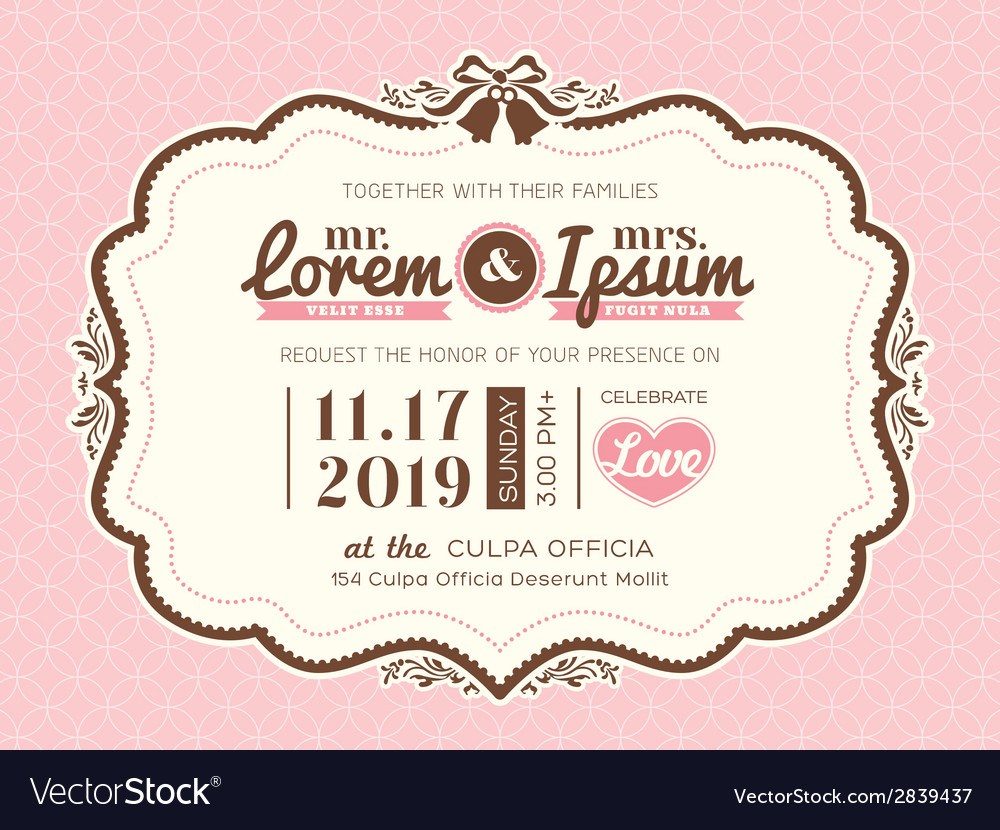 Vintage frame wedding invitation card template vector