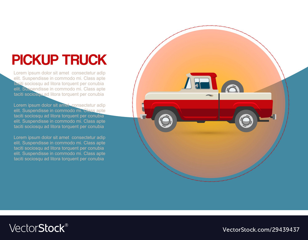 Vintage retro pickup truck car with wheel