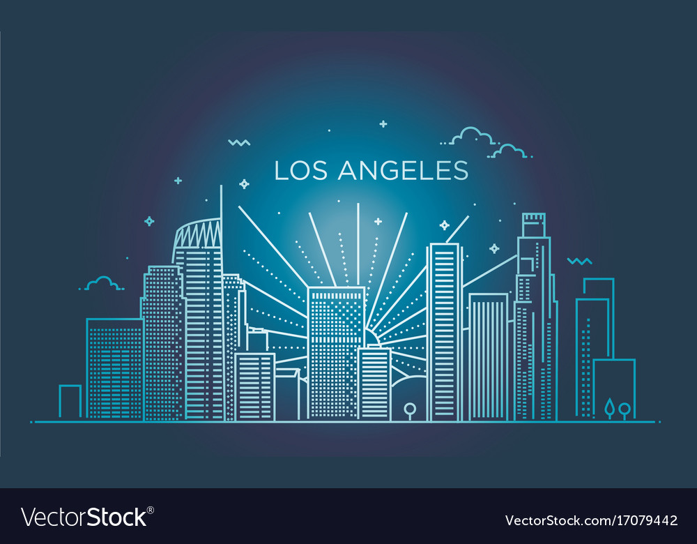 Banner of los angeles city in flat line trendy