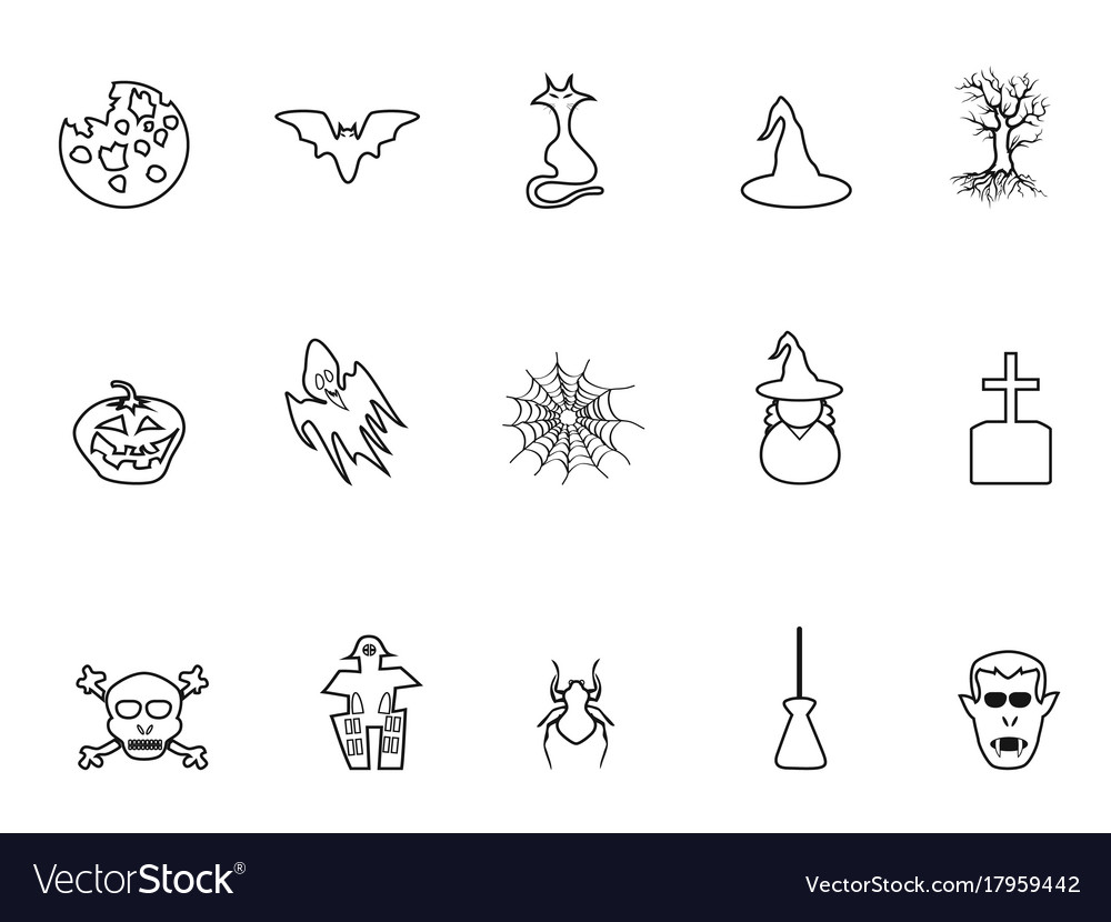 Black halloween outline icons set