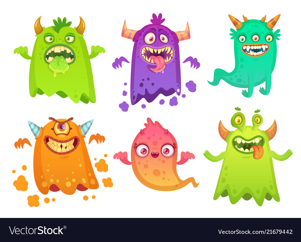 Cartoon monster ghost angry scary monsters mascot