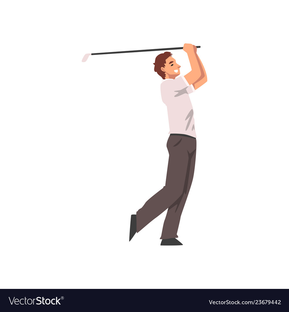 Golf player male athlete character in sports