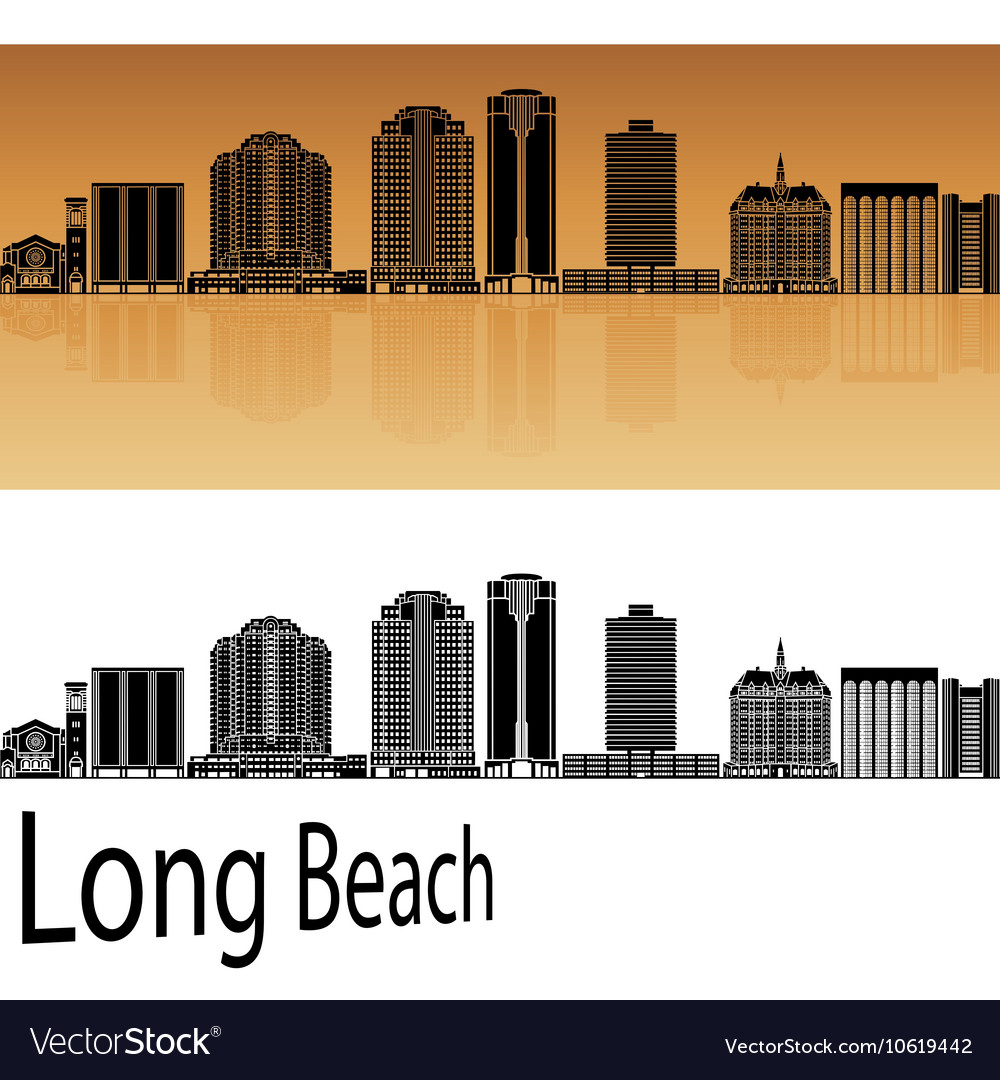 Long Beach V2 Skyline In Orange Vector Image