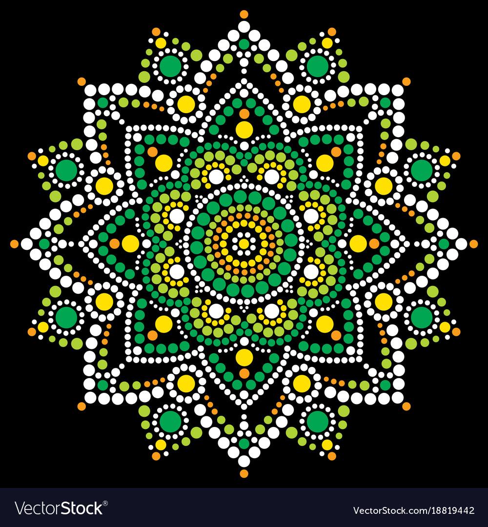 Mandala Dot Art Aboriginal Dot Painting Royalty Free Vector