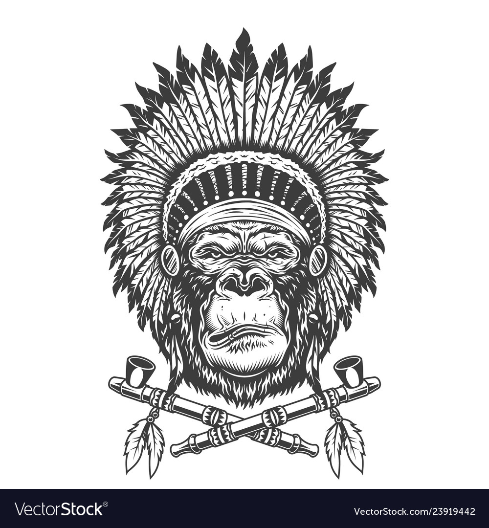 Native american indian chief gorilla head