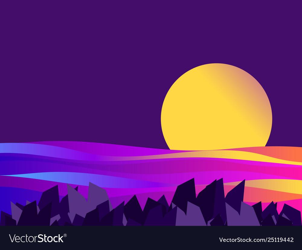Night seascape sunset gradient waves