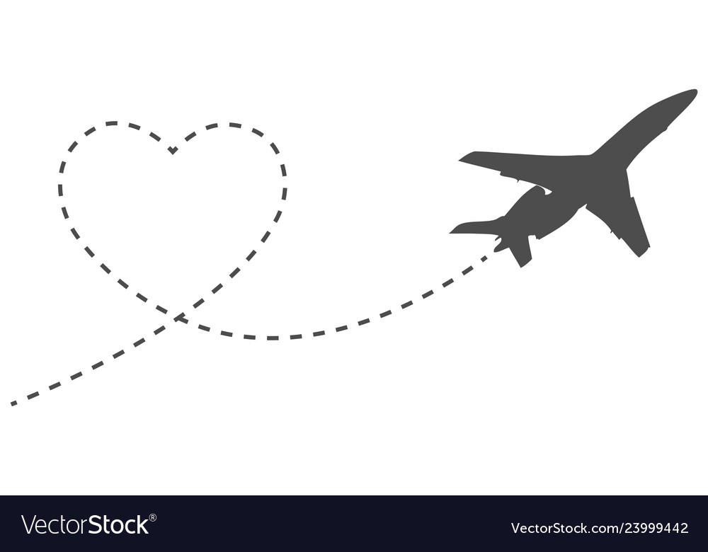 Romantic icon travel heart and way airplane