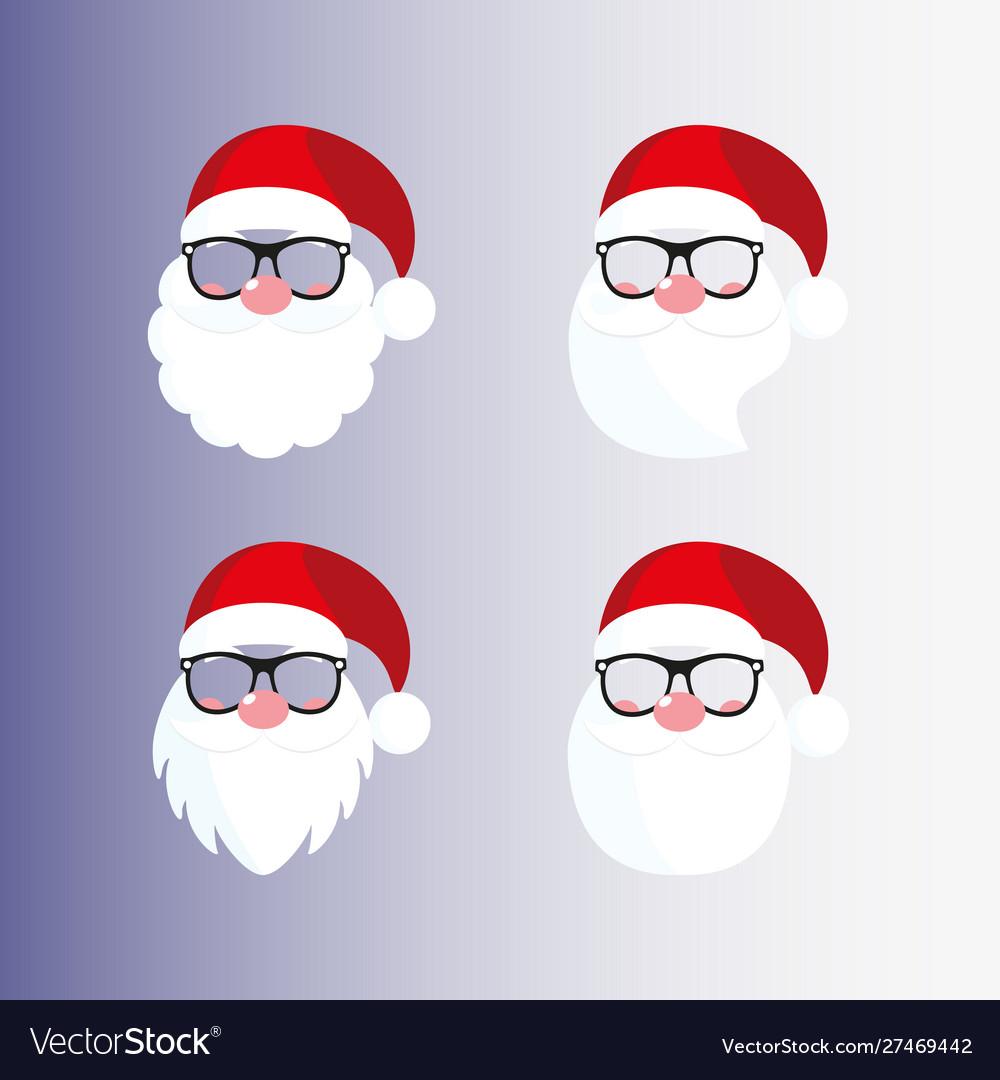 Santa masks beard nose mustache hat glasses