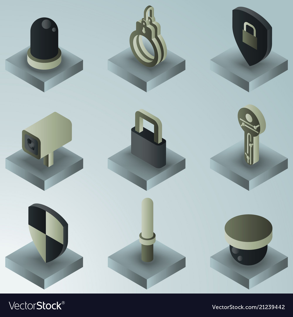 Security color gradient isometric icons