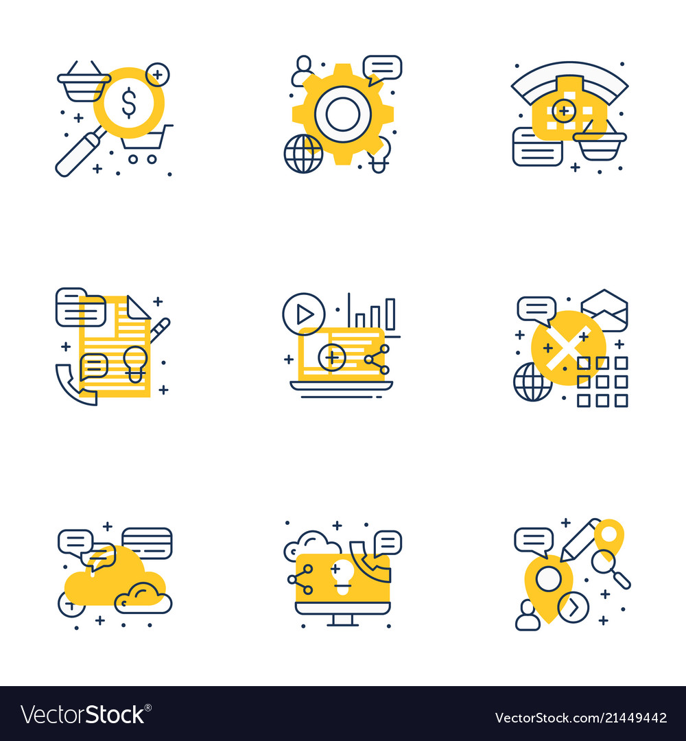 Set of 9 flat line business icons flat line