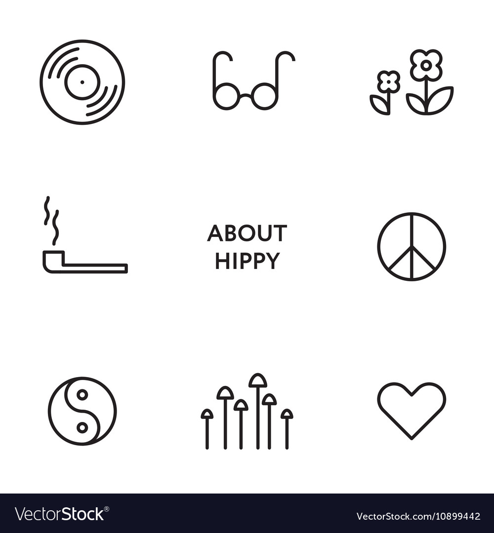 Set of flat line hippy icons Modern pictograms