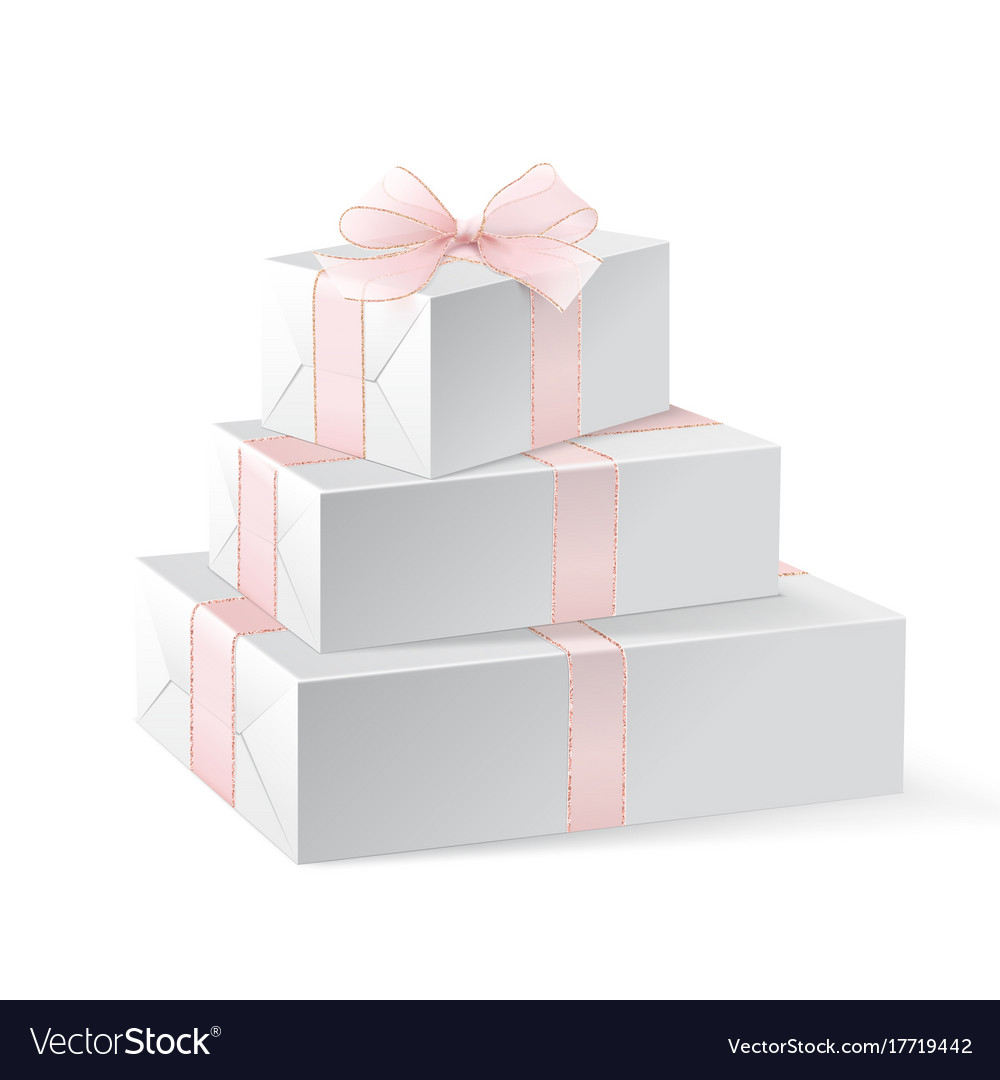 Stack Of Three Realistic White Gift Boxes