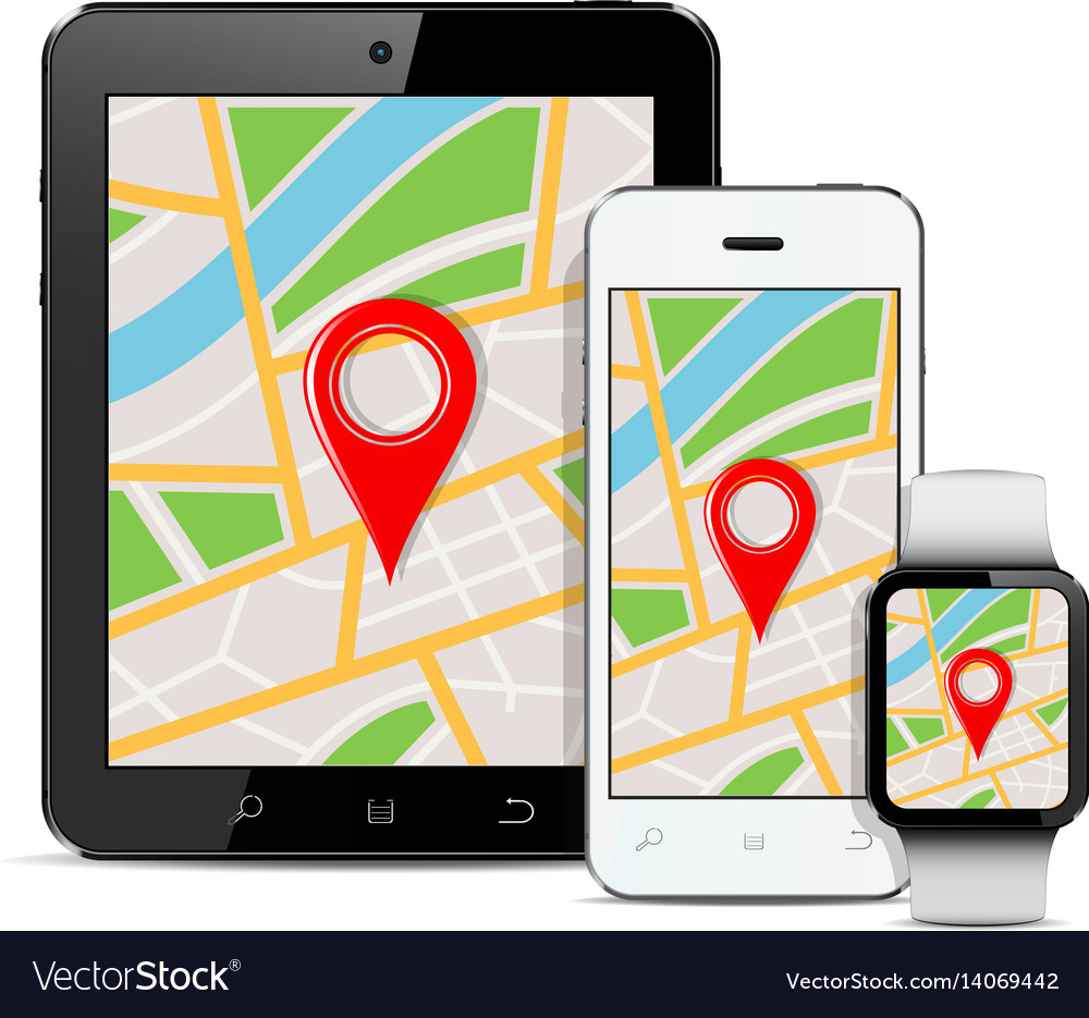 Tablet mobile phone and smart watch with gps map