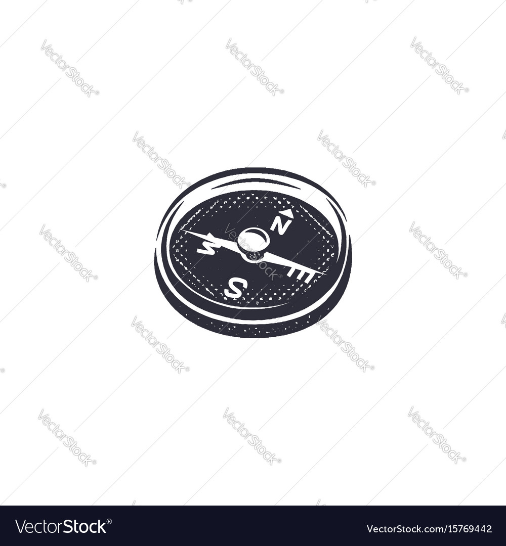 Vintage hand drawn compass shape in monochrome vector image