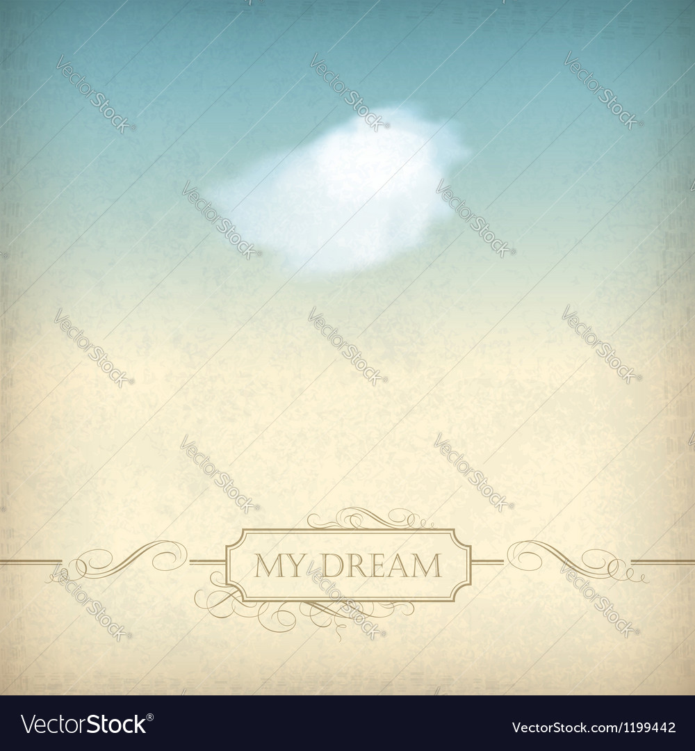 Vintage sky old paper background with cloud frame
