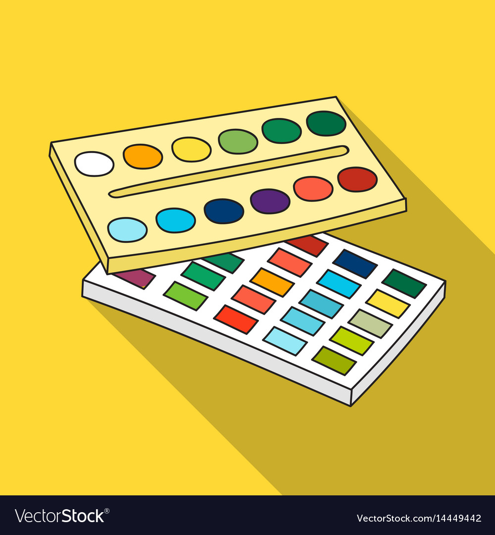Watercolor paint icon in flat style isolated on