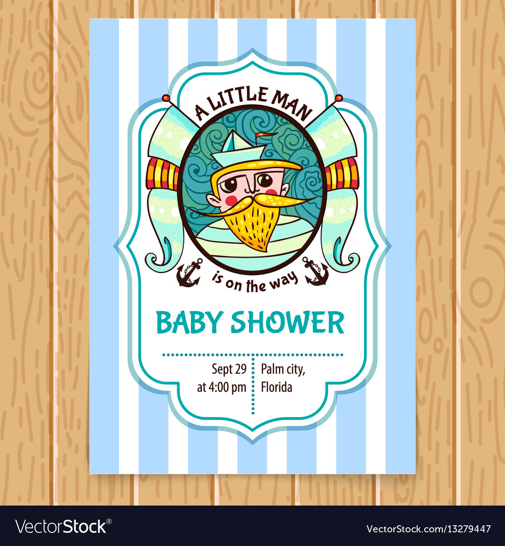 Baby shower invitation with sea captain