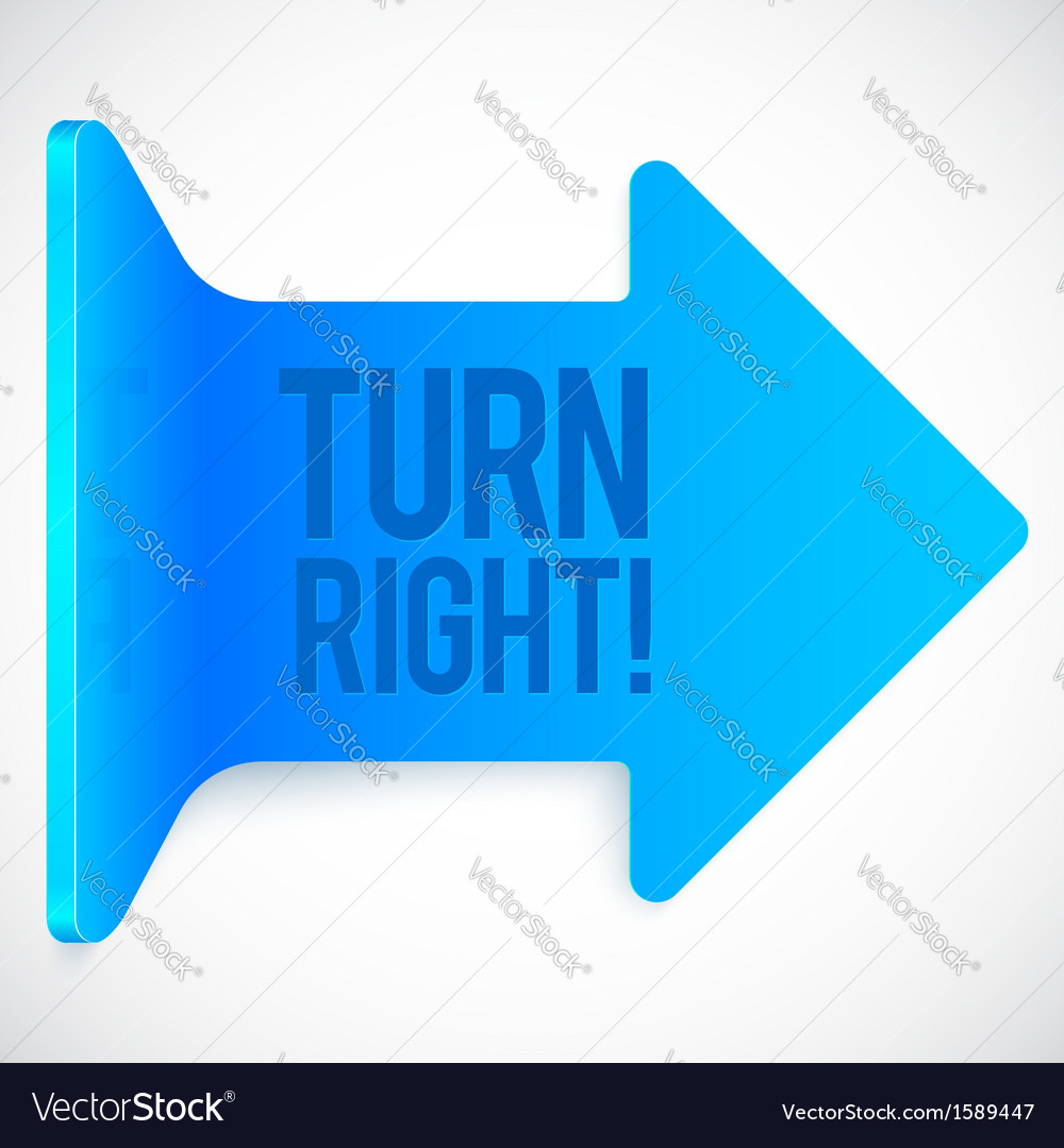 Blue realistic plastic turn right arrow