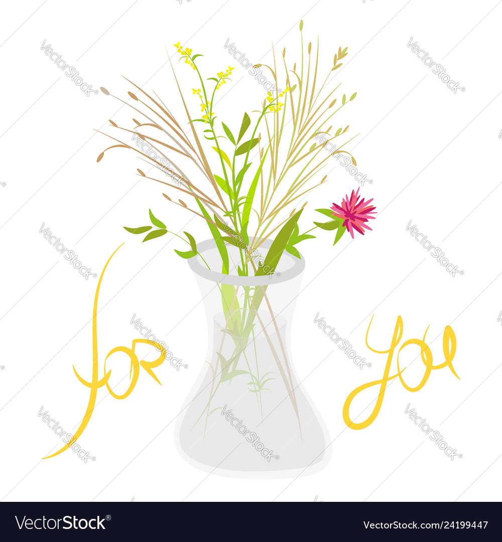 Bouquet of wild flowers in glass vase