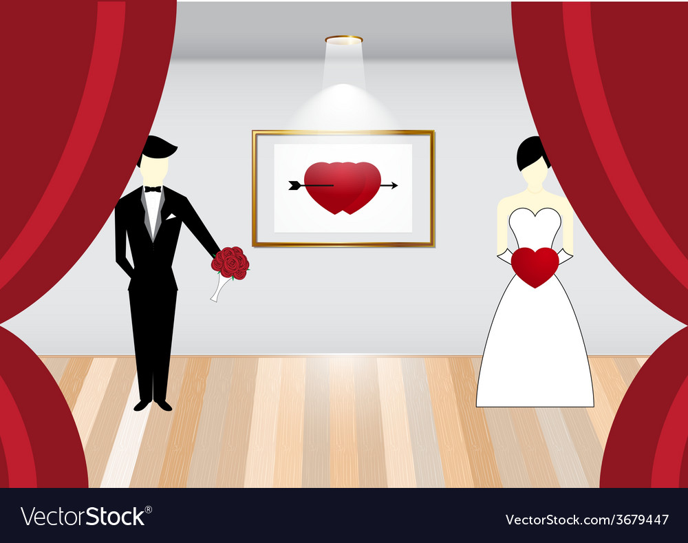Bride and Groom on stage vector image