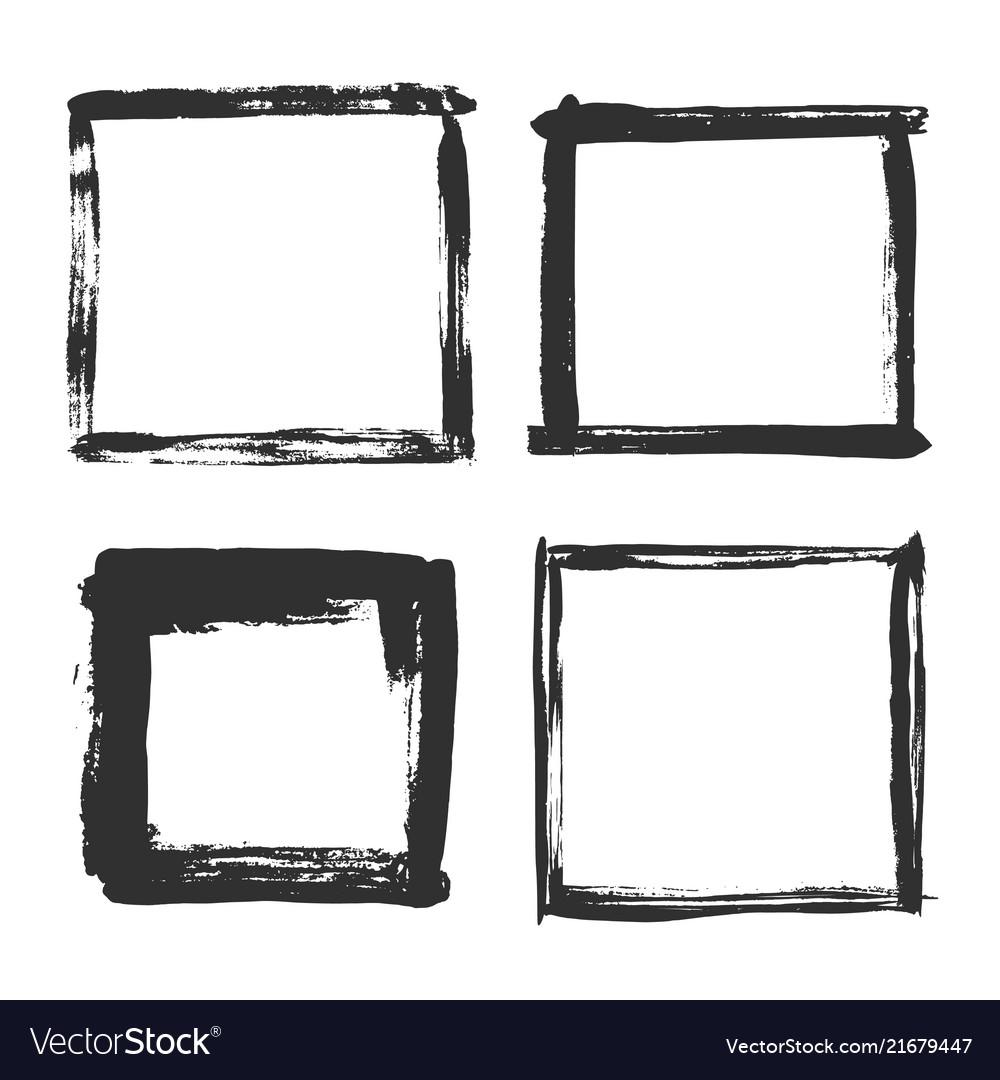 Brush Strokes Frame Black Grunge Square Borders Vector Image