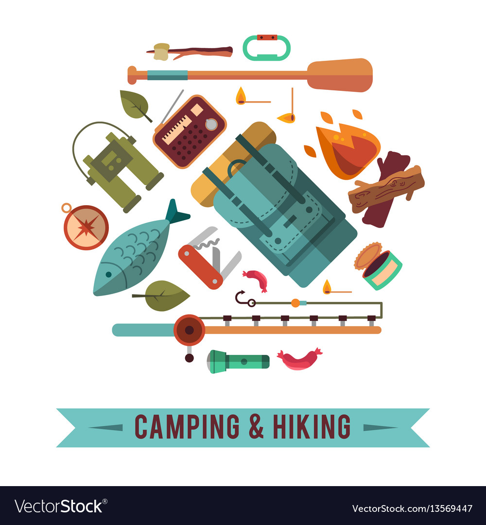 Camping flat set with hiking equipment