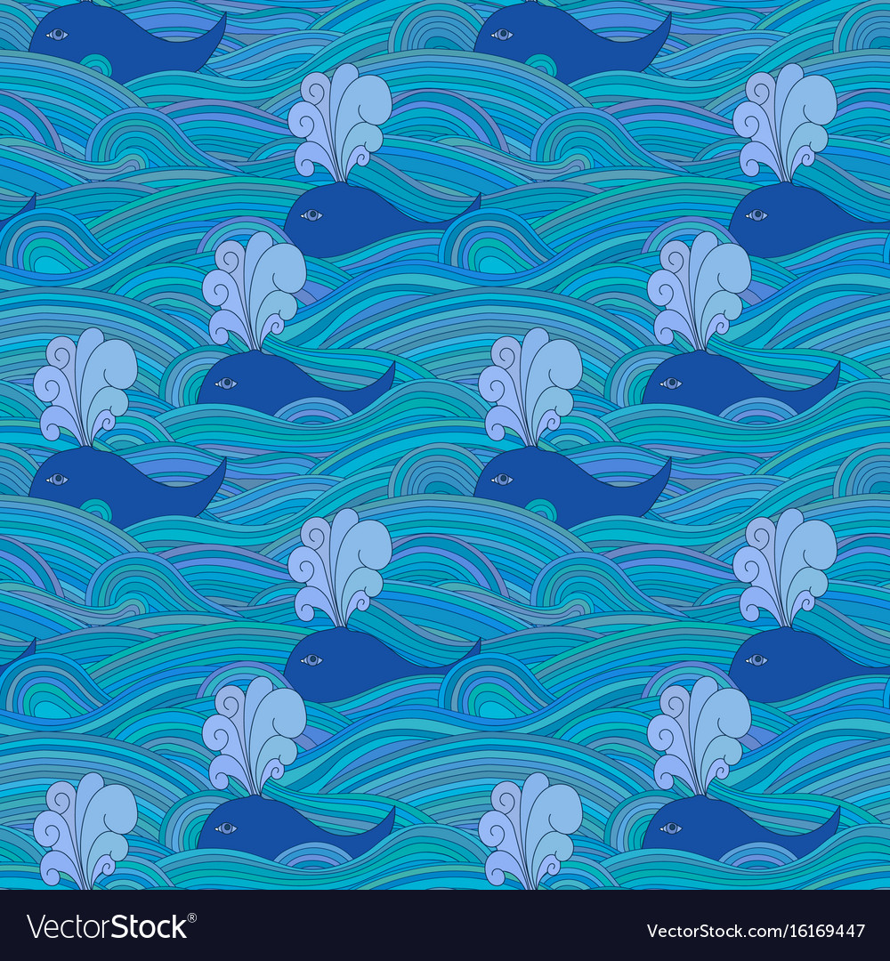 Cute unusual seamless pattern with whales in the