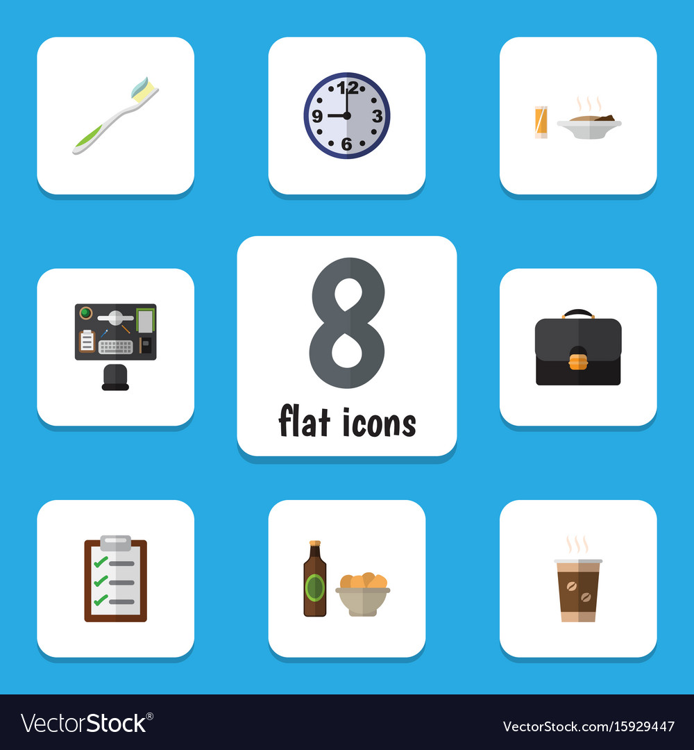 Flat icon oneday set of beer with chips watch vector image