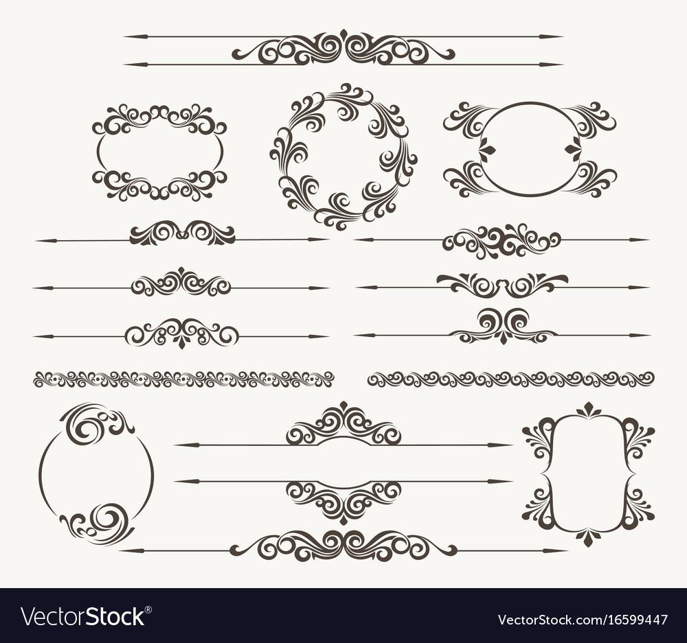 Floral filigree design element set vector image
